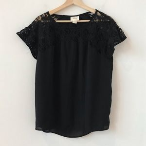Maeve black tee with lace top
